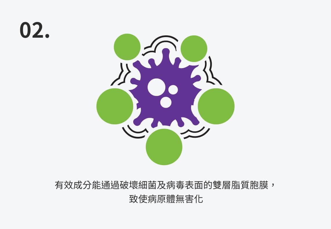 有效成分能通過破壞細菌及病毒表面的雙層脂質胞膜,致使病原體無害化